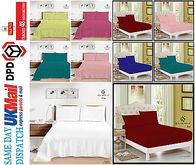 Plain Dyed Fitted Sheets&Flat Sheets or Pillowcases Single Double King All Sizes