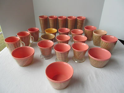 Lot of 23 Vintage Melmac Plastic Woven Wicker Rattan Sherbet Tumblers Cups Bowls