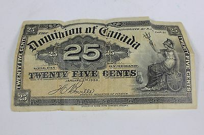 1900 Dominion of Canada 25 Cents Paper Currency