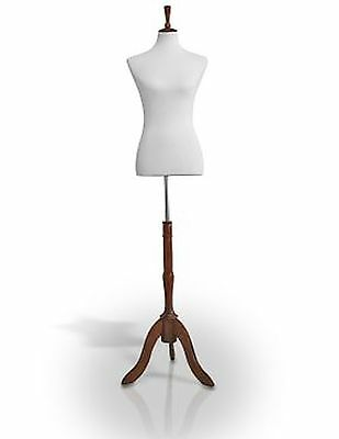 Female Jersey Dress Form Mannequin Body Torso W/ Wooden Tripod Base Stand & N...