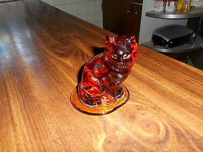 Vintage Amber Glass Cat By Viking