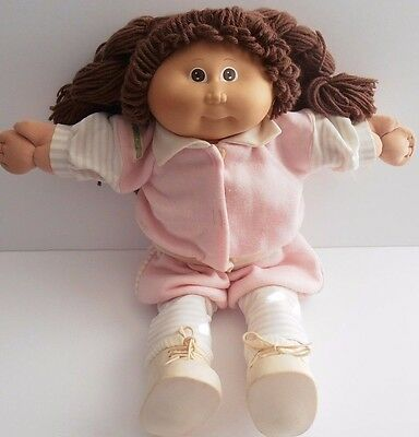 Vintage Cabbage Patch Kids CPK 1985 Girl Doll & Clothes Shoes Brown Hair Eyes