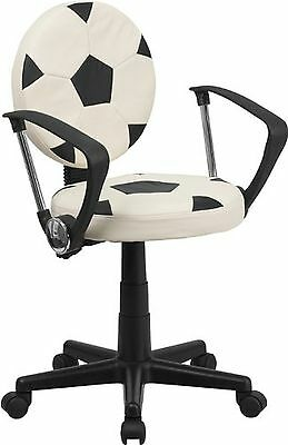 Flash Furniture BT-6177-SOC-A-GG Soccer Task Chair with Arms Black/White