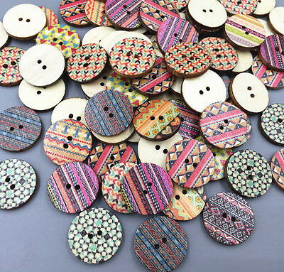 50pcs Round Wooden Printing buttons crafts Sewing decoration Scrapbooking 20mm