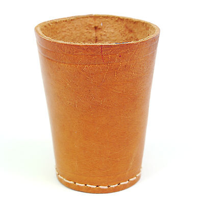 """Vintage Tan Stitched Leather Liars Dice Cup 3.5"""""""