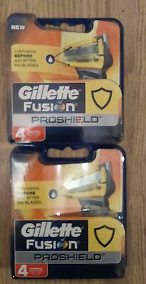 GILLETTE FUSION PROSHIELD  2 packs of 4 blades new and 100% GENUINE