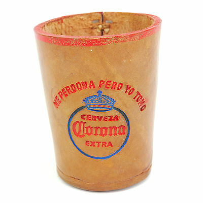 Vintage Corona Extra Cervesa Beer Logo Thick Tan Leather Liars Dice Cup Rare