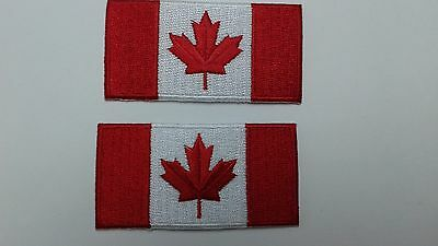 2 pc Small CANADIAN FLAG EMB PATCH, IRON-ON 2-3/4`x 1-1/2``