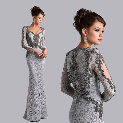 2017 Lace Sheath Mother Of The Bride Dresses With Long Sleeves Beaded Prom Dress