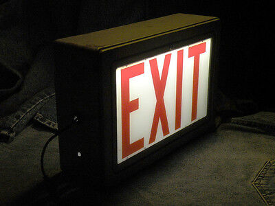 Illuminated vintage exit sign light double sided metal glass