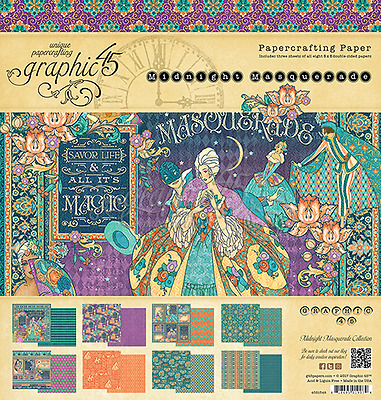 """Graphic 45 """"Midnight Masquerade"""" 8x8 Paper Pad Scrapbooking 24 Double Sided Shts"""