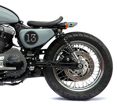 """(4 Decals Kit) 4"""" Lucky Number 13 Vintage Cafe Racer Motorcycle Decal Sticker"""