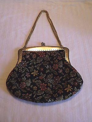 Vintage Small Floral Tapestry Purse Made In Italy Gold Tone Frame/Chain