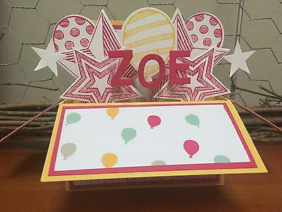 Girl Birthday Handmade card in a box,  personalised Stampin Up