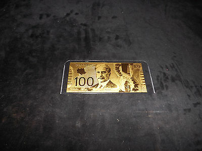 Canada $100 Polymer Note 24kt Fine Gold One Hundred Dollar Banknote