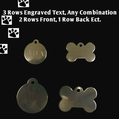 Stainless Steel Pet ID Tag Engraved & ring Dog Cat Name Tags Personalised Tag