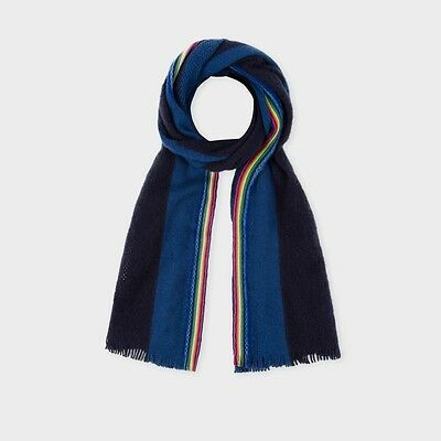 NEW Paul Smith Men's Navy And Royal Blue Stripe Airtex Wool Scarf