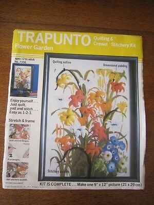 Trapunto Flower Garden Quilting & Crewel Kit 21 X 29Cms. Age Unknown