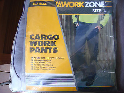 NEW Workzone 10 Pocket Cargo Cotton Drill Work Pants UPF50+ Protection Navy 92 L