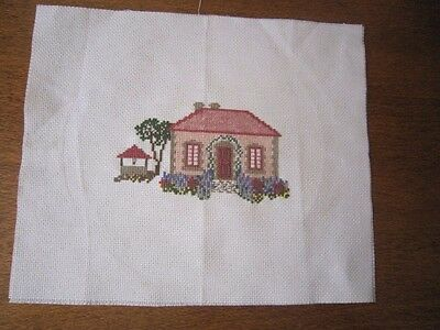 Completed Cross Stitch Of Ding Dong Dell Cottage 12Cms X 7Cms.