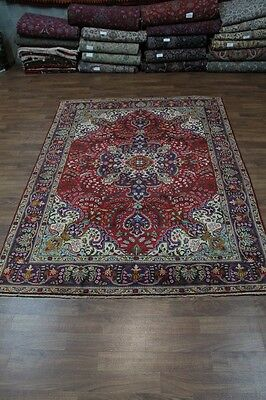 Elegant Semi Antique Hand Knotted Tabriz Persian Rug Oriental Area Carpet 8X11