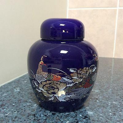 Japanese Medium Blue Ginger Jug with Flowers and Pheasants design