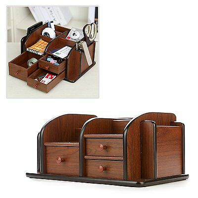MyGift® Classic Brown Wood Office Supplies Desk Organizer Rack with 3 Drawers, 3