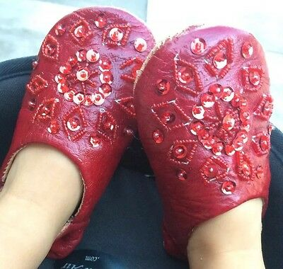 Moroccan  Soft Leather Slippers Shoes Babouche Toddler Size 5 Handmade