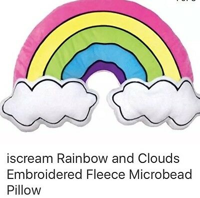 iscream Rainbow and Clouds Embroidered Fleece Microbead Pillow