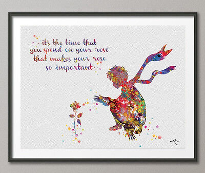 The Little Prince and Rose Quote Le Petit Prince inspiration Watercolor Poster