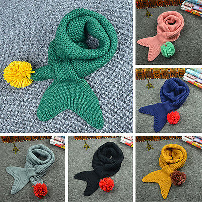 Autumn Winter Warm Toddler Baby Boy Girl Knit Mermaid Scarf O Ring Scarves 2-10T