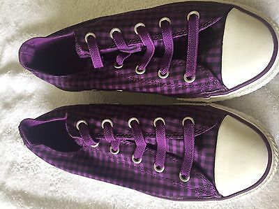 Converse kids shoes purple and black chequered