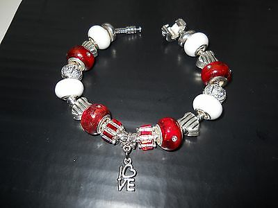 Quality Red & White' Love' Charm Bead Bracelet + Presentation Pouch & Box