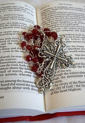 Anglican Rosary Protestant Prayer Beads Necklace (Red) Heavy duty wiring