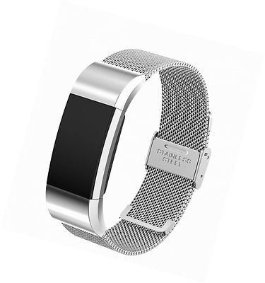 Fitbit Charge 2 Band, Milanese Loop Stainless Steel Watch Wrist Strap (Silver)