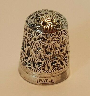 Early Charles Horner Daisy Pattern Silver Clad Thimble Pat9