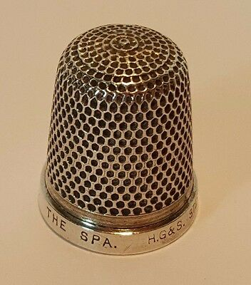 """Antique Sterling Silver Thimble """"the Spa"""" H.g. & S. C1910 Size 15"""