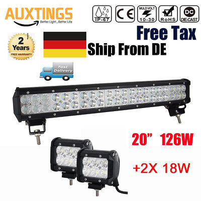 20 inch 126W LED LIGHT BAR COMBO Offroad DRIVING LAMP 4WD WORK ATV 12V