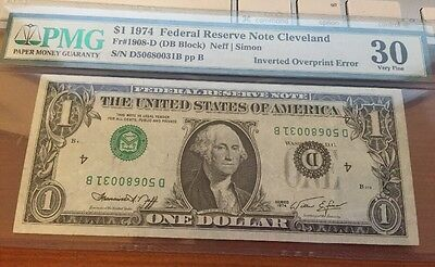 Series 1974 $1 INVERTED SEALS & SERIAL #S ERROR Note (0031B)