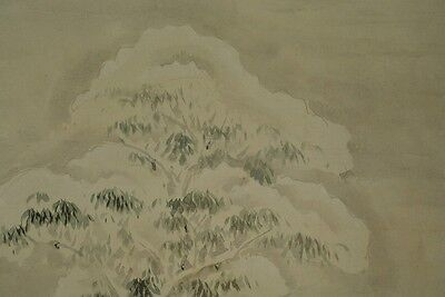 Hanging Scroll Japanese Landscape Painting Winter Asian Old Antique Japan z98
