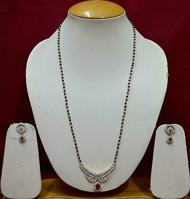 Indian Gold AD Mangalsutra Costume Jewellery Earring Black Beads Chain ADms13