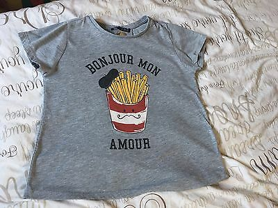 Ladies French Themed Grey T-shirt Top Size 8 Primark