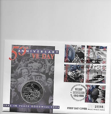 50th ANNIVERSARY VE DAY COIN COVER