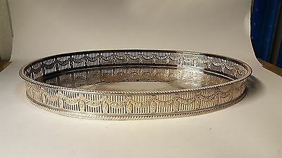 Silver plate / electroplate vintage Victorian antique oval gallery tray C