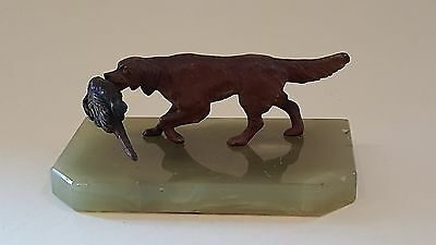Cold painted bronze & green marble vintage Art Deco antique dog figurine