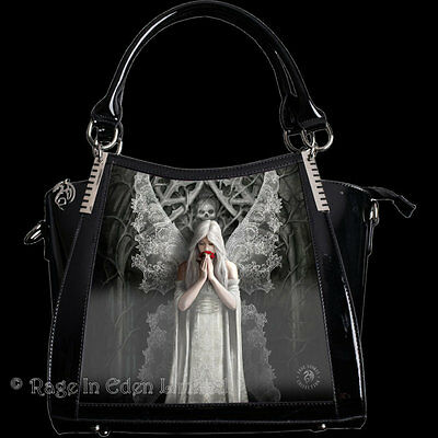 ONLY LOVE REMAINS 3D Lenticular Angel Art PVC Shoulder / Handbag By Anne Stokes
