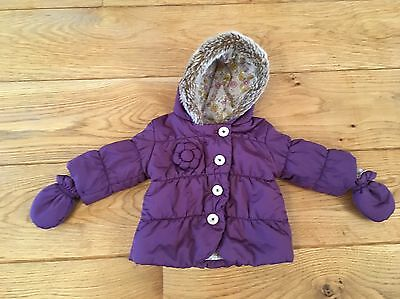 Baby Girls M&S Coat With Hood & Detachable Mitts - 3-6 Months