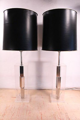 Fine Mid Century Pair Lucite LAUREL Stacked Cube Chrome Lamps