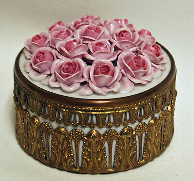 Vintage 1940s German Porcelain Pink Roses Rose Trinket Dresser Powder Vanity Box