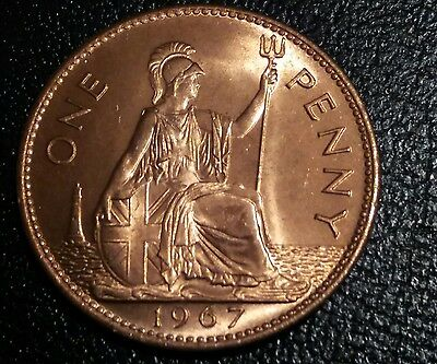 1967 Queen Elizabeth II. Uncirculated One Penny Coin. Free postage.